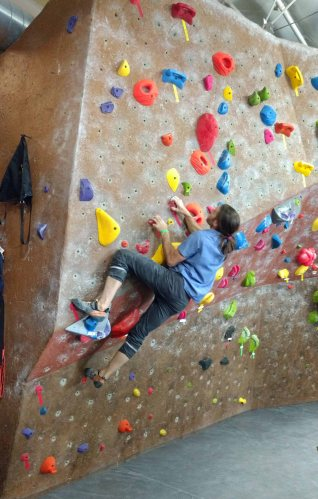 David Allfrey on Gear Coop's Bouldering Wall